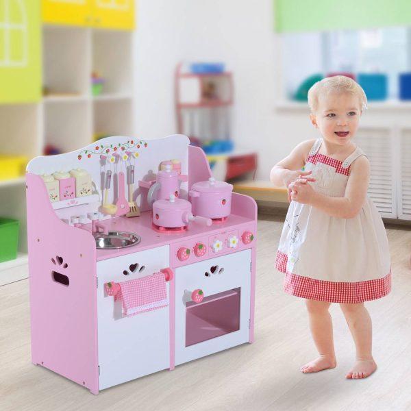Cozinha de Brincar de Madeira para Crianças +3 Anos com Acessórios Multicor - 60x30x62cm