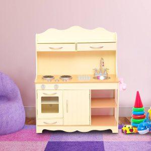 Cozinha de Brinquedo de Madeira Amarela 77x30x95cm