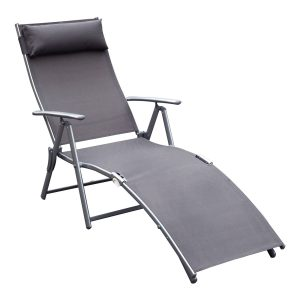Dobrável Espreguiçadeira Encosto Ajustável para 7 Níveis com Travesseiro Resistente ao Textilene Relaxar na Piscina Exterior Terraço Camping 137x63.5x100.5 cm Aço