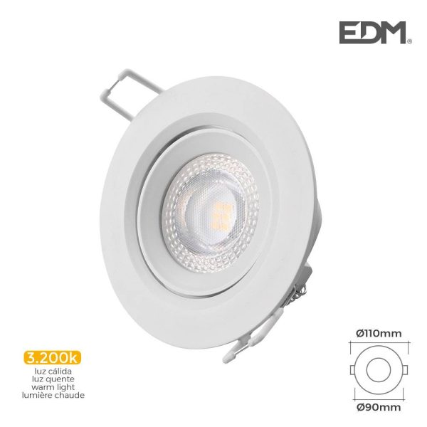 Downlight Led Encastrável 5W 3.200K Redondo Moldura Branca E