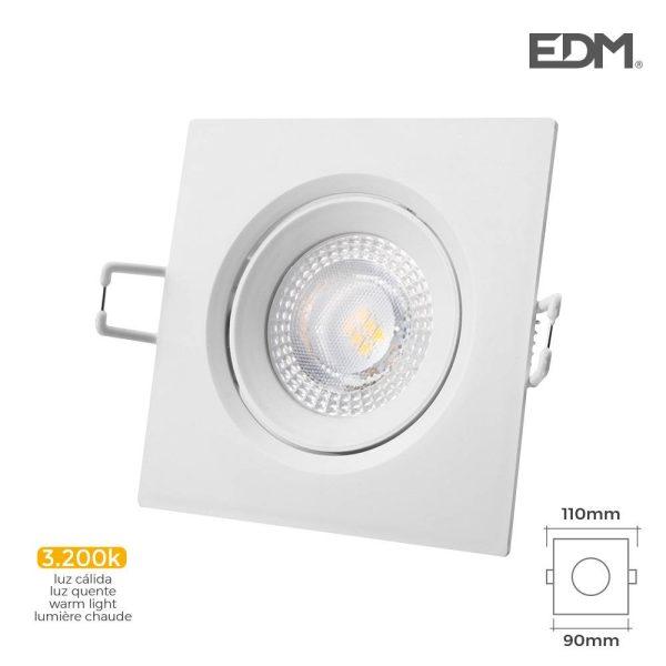 Downlight Led Encastrável 5W  380 Lumen3.200K Quadrado Moldu