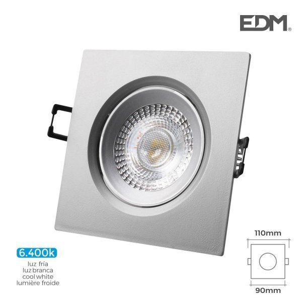 Downlight Led Encastrável 5W  380 Lumen6.400K Quadrado Moldu