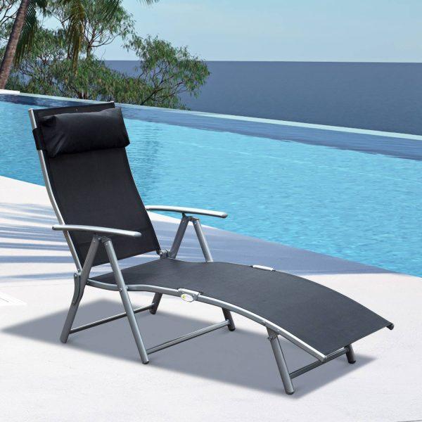Espreguiçadeira Dobrável Encosto Ajustável para 7 Níveis com Travesseiro Resistente ao Textilene 137x63.5x100.5 cm Aço