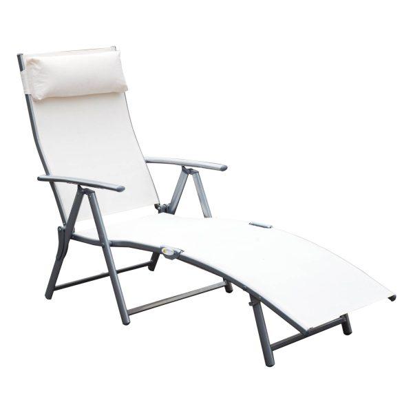 Espreguiçadeira Dobrável Encosto Ajustável para 7 Níveis com Travesseiro Resistente ao Textilene Relaxar na Piscina Exterior Terraço Camping 137x63.5x100.5 cm Aço