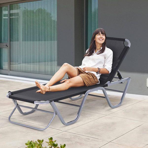 Espreguiçadeira ajustável Cadeira de praia ajustável de 120 °-180 ° Texteline de alumínio Preto