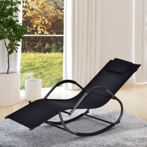 Espreguiçadeira de jardim Cadeira de balanço com braços para exterior Preto