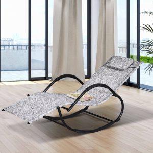 Espreguiçadeira de jardim cinza Cadeira de balanço com braços para exterior