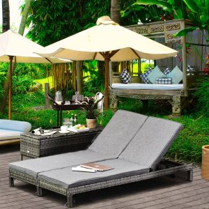 Espreguiçadeira de jardim de 2 lugares Conjunto de espreguiçadeira de piscina 123x60x23 cm Cinza