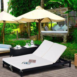 Espreguiçadeira de vime com 2 lugares e almofadas acolchoadas para jardim Conjunto de espreguiçadeiras ao ar livre 195x120x28 cm Preto e branco creme 195x120x28cm