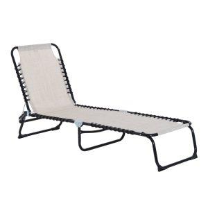Espreguiçadeira dobrável Espreguiçadeira de praia ajustável com encosto ajustável Fácil de transportar para Praia Piscina 197x58x76cm cor Creme Branco