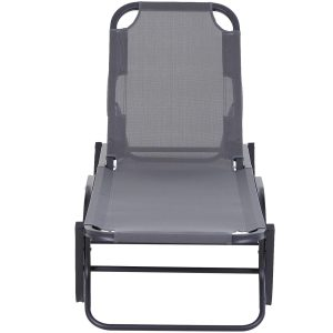 Espreguiçadeira reclinável 120 °-180 ° para piscinas ou jardins cinza