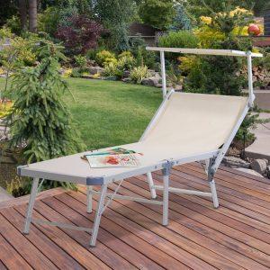 Espreguiçadeira reclinável e dobrável com toldo 169x72x55 / 72cm Bege