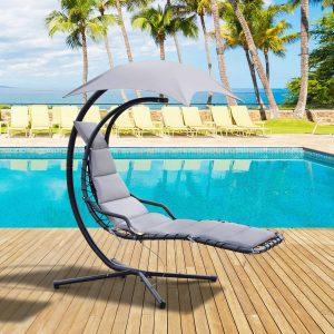Espreguiçadeira suspensa com guarda-sol e almofada de exterior 194x117x192 cm