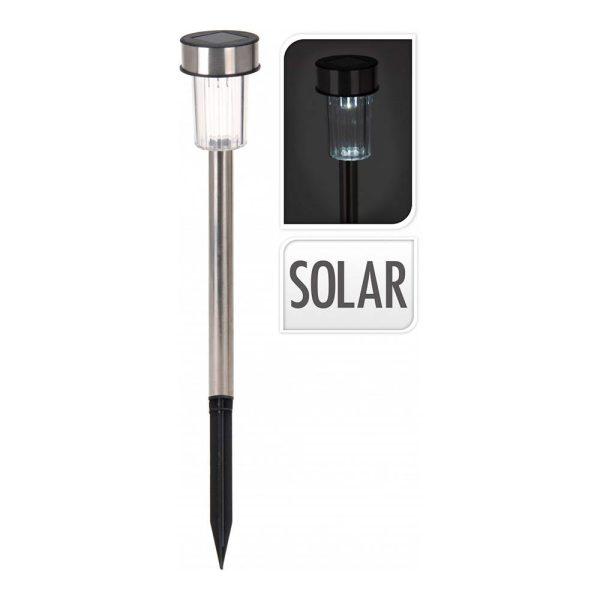 Estaca Solar 36Cm Inox Mod. Cilindro  Euro/U Com Um Led De L