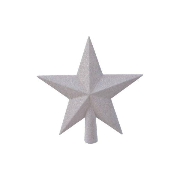 Estrela Branca Para Árvore De Natal Com Purpurina  4