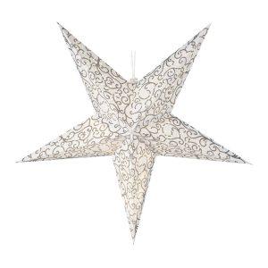Estrela Branco Quente 10 Leds A Pilhas Corpo De Papel 60Cm.