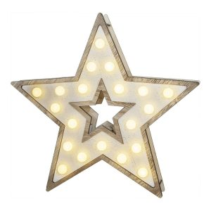 Estrela De Madeira 20 Leds 25