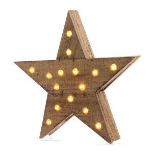 Estrela De Madeira Com 15 Leds 6X30X29Cm. Funciona Com 3 Pil