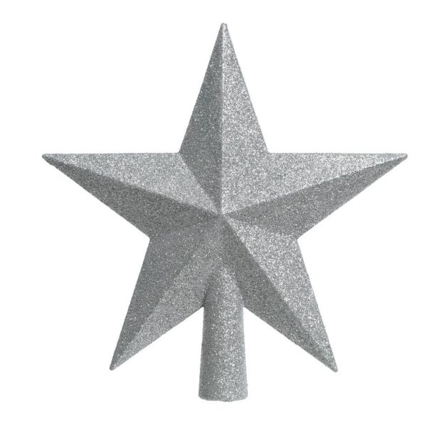Estrela Prateada Com Purpurina Para Árvore De Natal 4