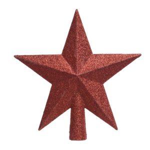 Estrela Vermelha Com Purpurina Para Árvore De Natal 4