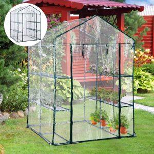 Estufa Transparente de jardim Viveiro Caseiro Platas com 3 Andares 143x143x195cm