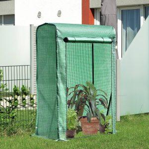 Estufa de jardim Terraço 100x50x150cm Aço de cor verde e tubo de PE