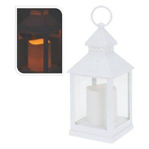 Farol Lanterna Led Com Vela Branco 23Cm. Peso 350G. Funciona