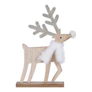 Figura Decorativa De Madeira Modelo Cervo Cor Dourado 22X13X