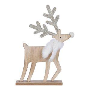 Figura Decorativa De Madeira Modelo Cervo Cor Dourado 27X20X