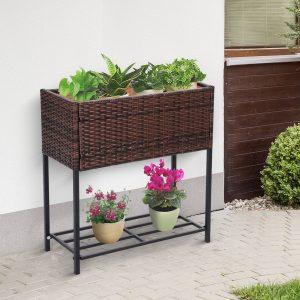 Floreira ao ar livre para jardim urbano Varanda alta com floreira retangular com prateleira 70x30x72 cm