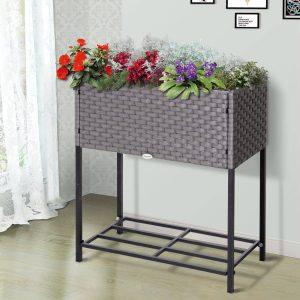 Floreira retangular para balcão com prateleira 70x30x72 cm