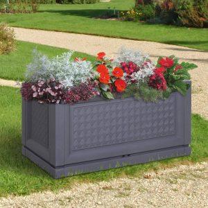 Floreira retangular para flores e vegetais com furos de drenagem