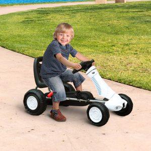 Go Kart Carro de Pedais Desportivo de Aço com Travões para Crianças acima de 3 Anos - Cor: Preto e Branco - 83