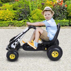 Go Kart Carro de Pedais Racing Desportivo com Assento Ajustável Embraiagem e Travão 95x66