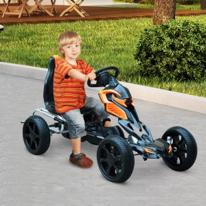 Go Kart Racing Desportivo Carro de Pedais para Crianças de 3 a 8 Anos - Preto e Laranja – 122 x 60 x 70 cm