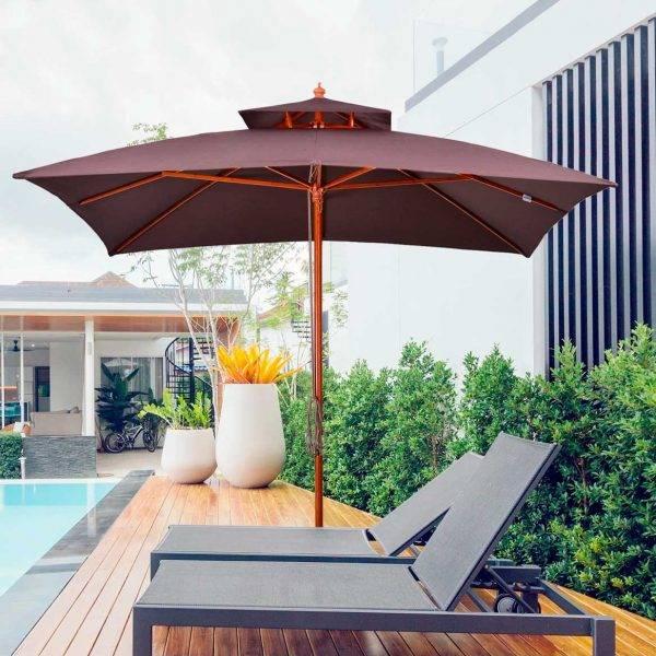 Grande Guarda-sol de Jardim com Design de Dois Níveis em Poliéster 3x3m Castanho