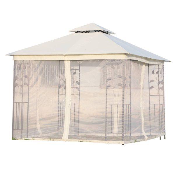 Grandes tendas ao ar livre com rede mosquiteira Gazebo elegante para jardim 3x3m
