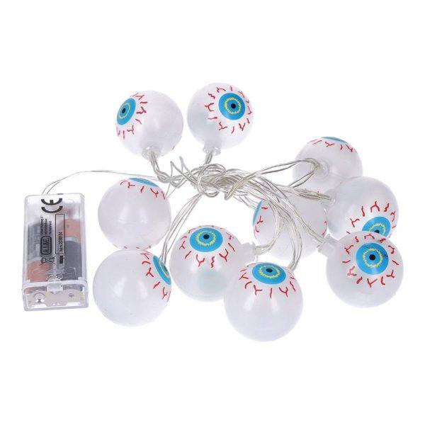 Grinalda Halloween Olhos 10 Leds. Funciona Com 2 Pilhas Aa