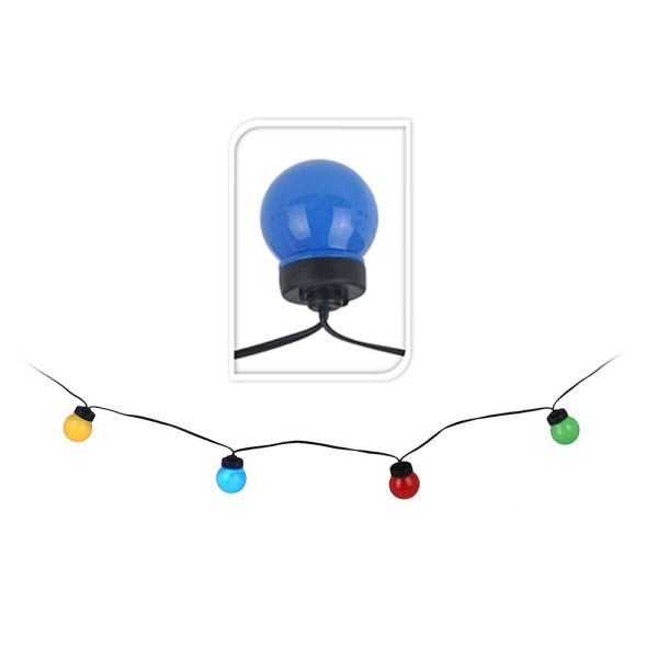 Grinalda Multicor Com 20 Lâmpadas Esféricas De Led Fixas 12