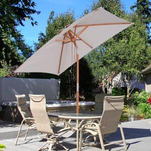 Guarda-sol Parasol 200x150cm Madeira de bambu para jardim Pátio Praia Ângulo de inclinação