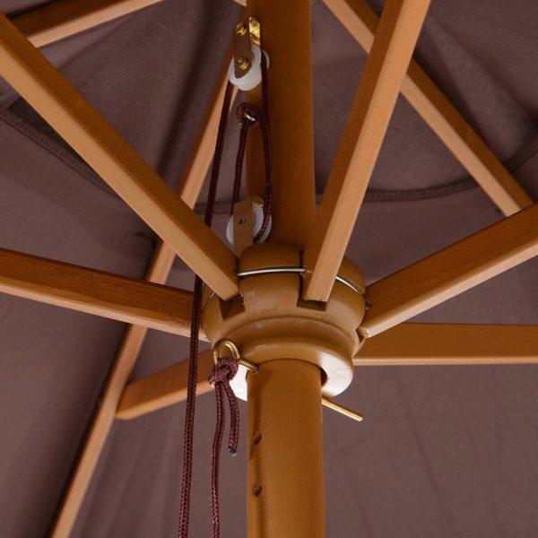 Guarda-sol de cor Café Marrom Poliéster + Madeira Ø 250cm x 225cm