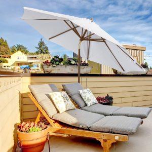 Guarda-sol grande de poliéster de ângulo ajustável para pátio e piscina Φ300x250cm Marfim