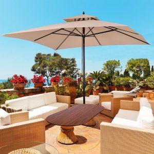 Guarda-sol para terraços de jardim ou cantina Cobertura a 2 alturas 3x3 m Marfim