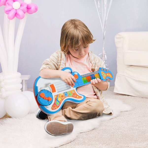 Guitarra Infantil Convertivel em Piano Tambor Instrumento Musical Infantil Educativo + 3 Anos 4 em 1