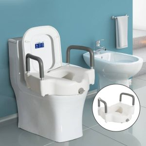 HomCom® Adaptador de Sanita Elevado com Apoio para Braços - Cor Branco – HDPE – 44.3x52x33cm