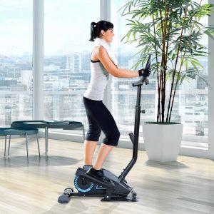 HomCom® Bicicleta Elíptica Resistência Ajustável Ecrã LCD com guiador