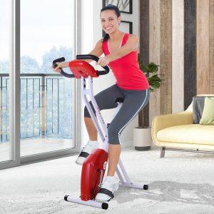 HomCom® Bicicleta dobrável Fitness Assento Ajustável Resistência ajustável Carga 110kg 83x43x110cm Aço branco