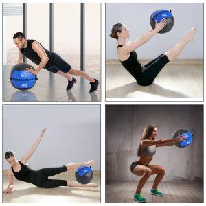 HomCom® Bola Medicinal de Crossfit 6 Kg com Asas Bola de Treino de Couro e PU Ф35cm