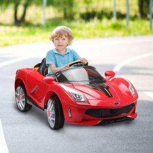 HomCom® Carro Eléctrico de Bateria Vermelho de a partir de 3 Anos de idade com Luzes e Música 130x71x52cm