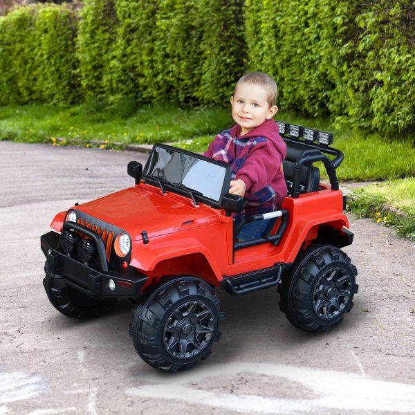 HomCom® Carro Eléctrico de Bateria cor Vermelho de a partir de 3 Anos de idade 128x78x76cm Carga 30kg